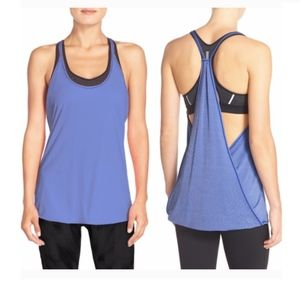 NWT Zella Her Layered Tank Racerback Blue Top L